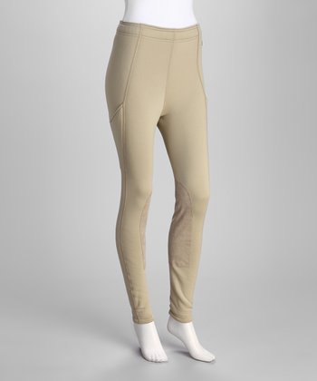 Tan Power-Stretch Pocket Leggings - Women & Plus