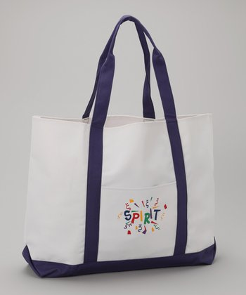 White & Purple 'Spirit' Tote