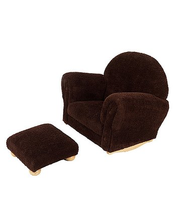Chocolate Chenille Rocker & Ottoman