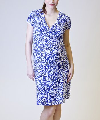 Blue & White Floral Maternity & Nursing Dress - Women