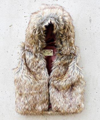 Brown Faux Fur Zoe Vest - Toddler & Girls