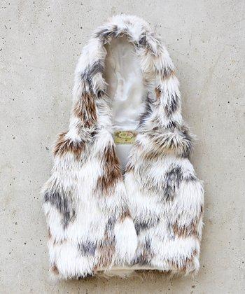 Cream Faux Fur Zoe Vest - Girls