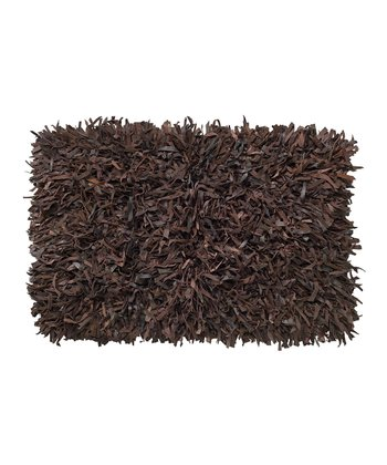Chocolate Leather Shag Rug
