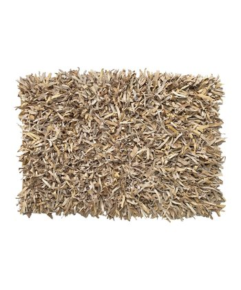 Buff Leather Shag Rug