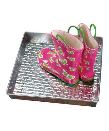 Galvanized Steel Basketweave Embossed Square Shoe & Plant Tray