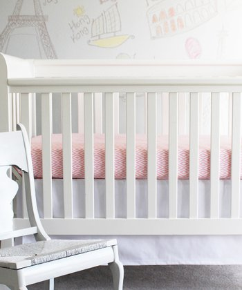 Pink & White Diamond Crib Sheet & Skirt