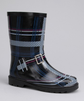 Black & Blue Stripe Rain Boot