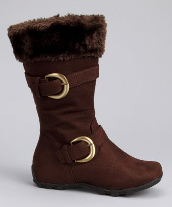 Brown Faux Fur Double-Buckle Boot