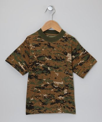 Green Digital Camouflage Tee - Boys