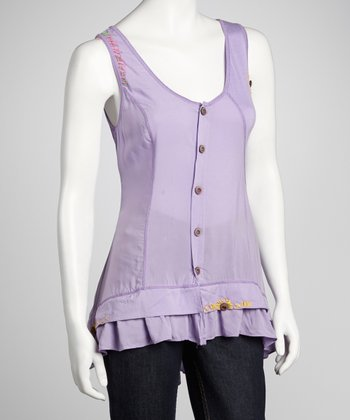 Purple Ruffle-Hem Sleeveless Top