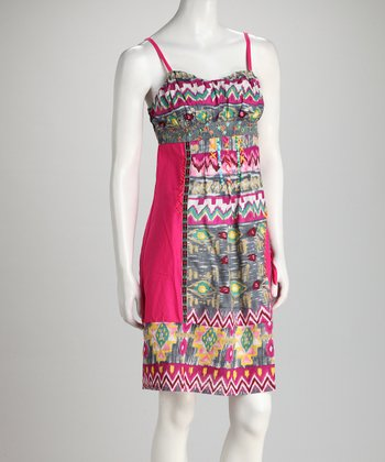 Fuchsia Geometric Dress