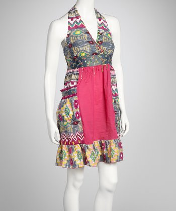 Fuchsia & Gray Tribal Patchwork Dress
