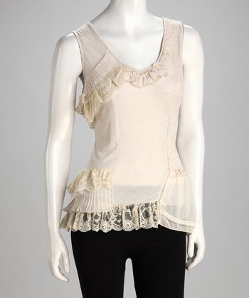 Beige Lace Ruffle Top