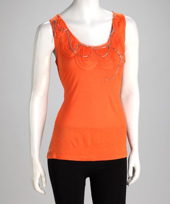 Orange Embellished Sheer-Back Tank