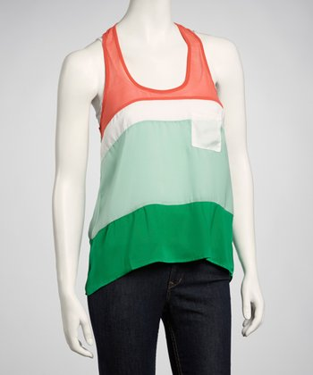 Red & Green Color Block Hi-Low Tank