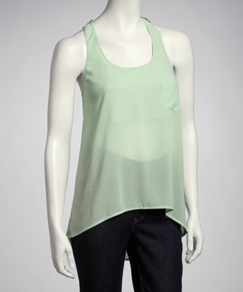 Green Lace-Back Racerback Tank
