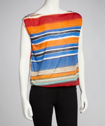 Rouge Stripe Cap-Sleeve Top