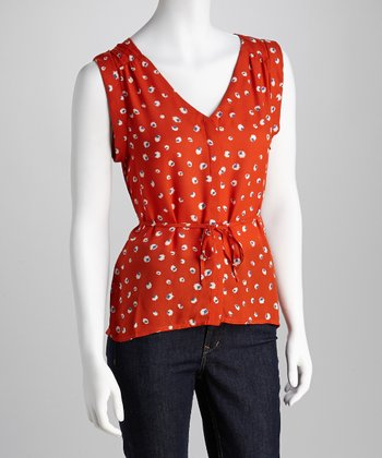 Orange & White Polka Dot Tie-Waist Sleeveless Top