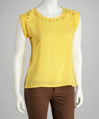 Yellow Studded Lace-Back Cap-Sleeve Top