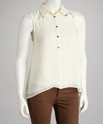 Beige Cutout Sleeveless Button-Up
