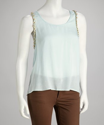 Light Blue Chain Embellished Racerback Tank