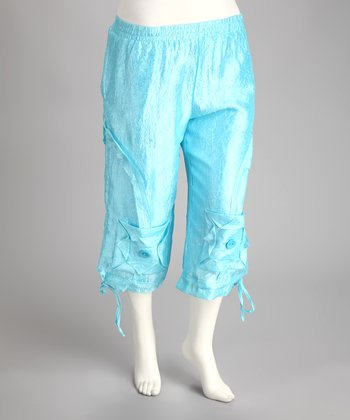 Blue Plus-Size Capri Pants