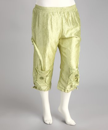 Green Plus-Size Capri Pants