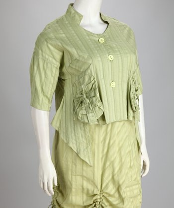 Green Sidetail Plus-Size Button-Up Top