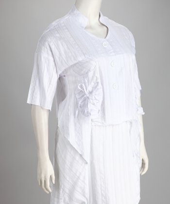 White Sidetail Plus-Size Button-Up Top