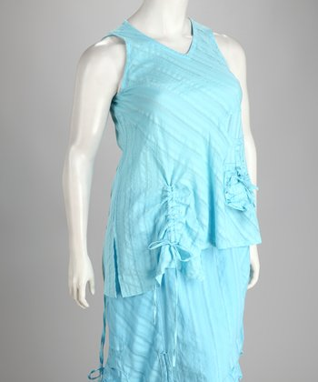 Blue Ruched Plus-Size Sleeveless Top