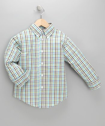 Blue & Gray Plaid Lucca Shirt - Toddler & Boys