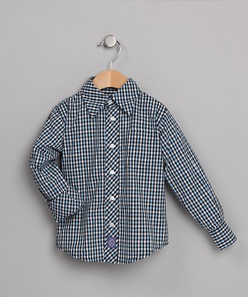 Blue, White & Green Plaid Shirt - Toddler & Boys