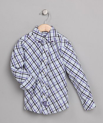 Blue & White Plaid Torino Shirt - Toddler & Boys