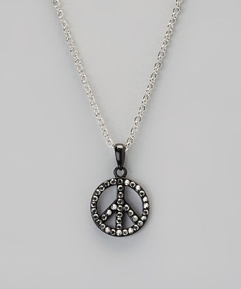 Black Rhinestone Peace Pendant Necklace