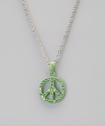 Green Rhinestone Peace Pendant Necklace