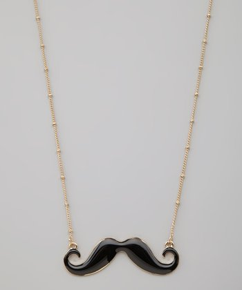 Gold & Black Mustache Necklace
