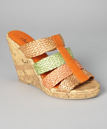 Orange Baracuda Wedge Slide