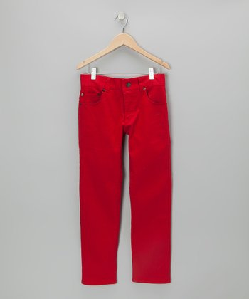 Red Straight-Leg Jeans - Boys