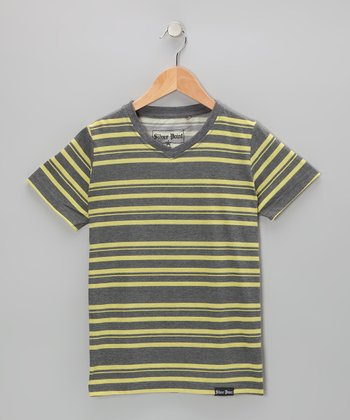 Gray & Yellow Stripe V-Neck Tee