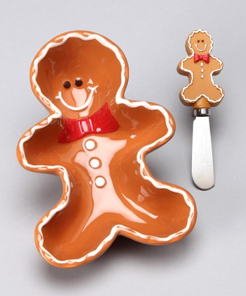 Boston Warehouse Sugar & Spice Gingerbread Dip Bowl & Spreader
