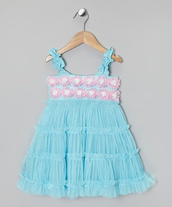 Aqua & Pink Rosette Ruffle Tier Dress - Infant & Girls