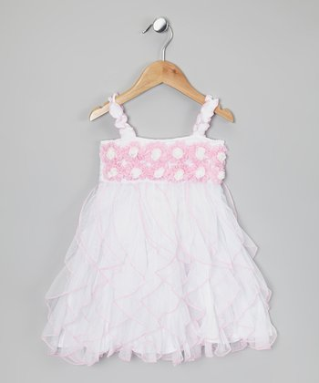 White & Pink Rosette Ruffle Dress - Infant, Toddler & Girls