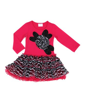 Pink Zebra Ruffle Dress - Infant, Toddler & Girls