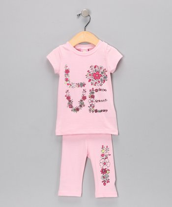 Pink 'Love' Tunic & Leggings - Infant
