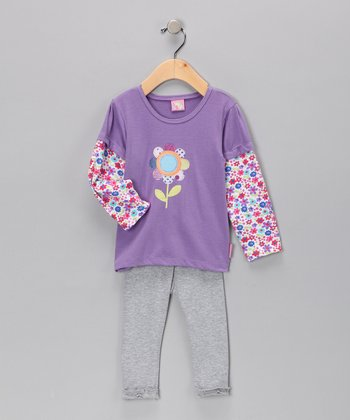 Purple Floral Layered Tunic & Gray Leggings