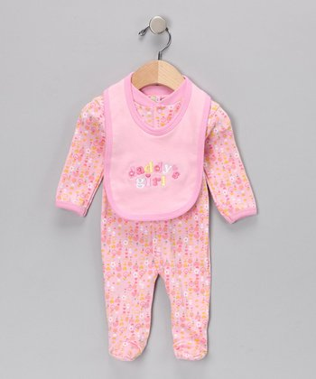 Pink 'Daddy's Girl' Footie & Bib - Infant