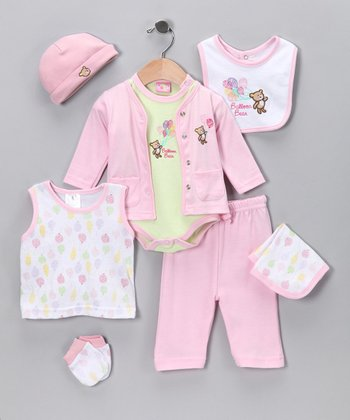 Sweet & Soft Pink Balloon Layette Set