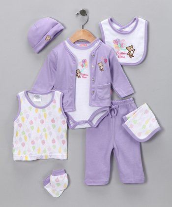 Sweet & Soft Purple Balloon Layette Set