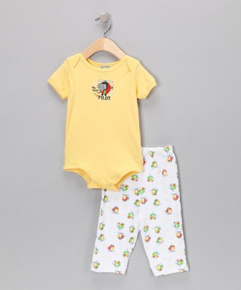 Sweet & Soft Yellow Helicopter Bodysuit & Pants - Infant