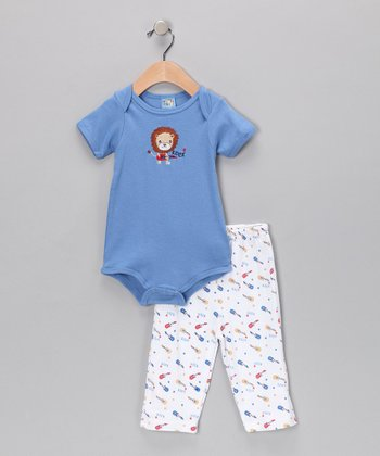 Sweet & Soft Blue Lion Bodysuit & Pants - Infant